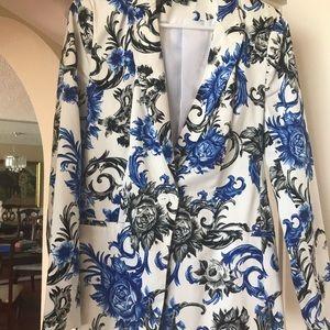 Blue white and black blazer